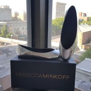 Rebecca Minkoff Distressed Silver Flats